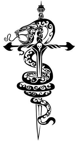 Wąż Krzyż Miecz Tatuaż