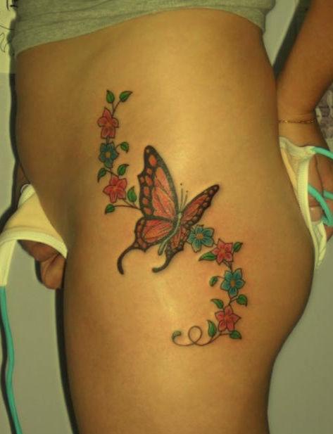 Tatuaż Motyl I Kwiaty