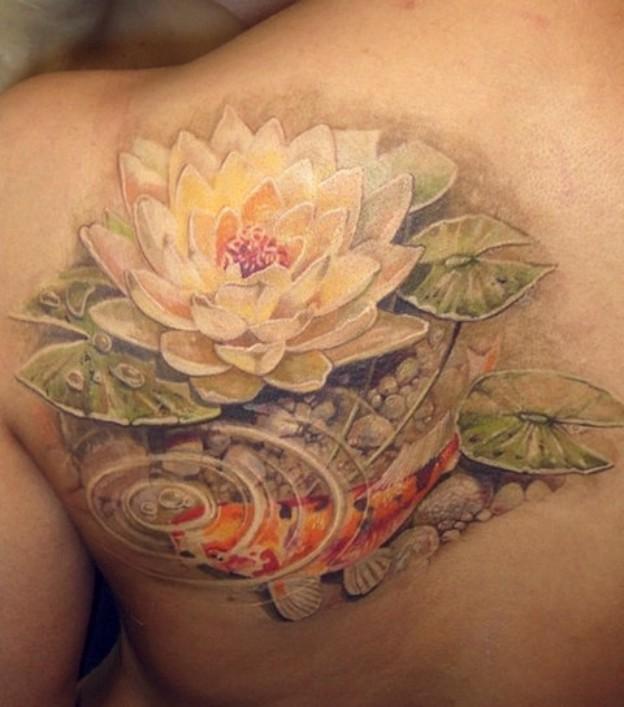 Kwiat Lotosu Tatuaż Na Plecach