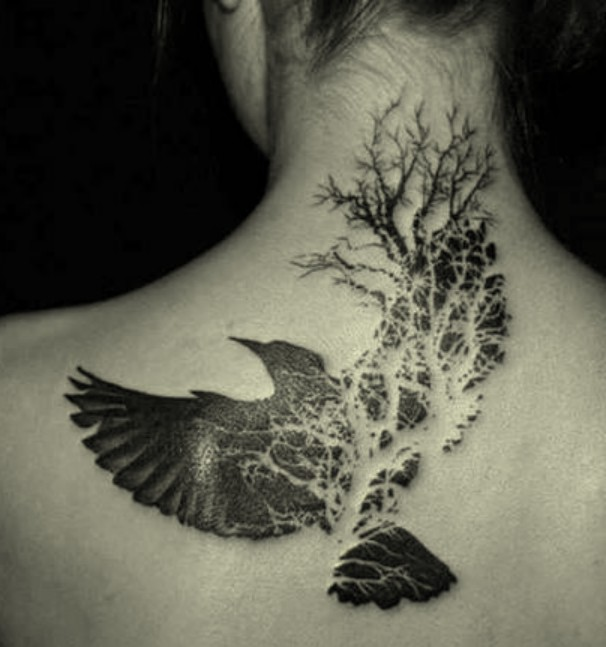 kruk,tatuaż,raven,tattoo,tattoo raven,