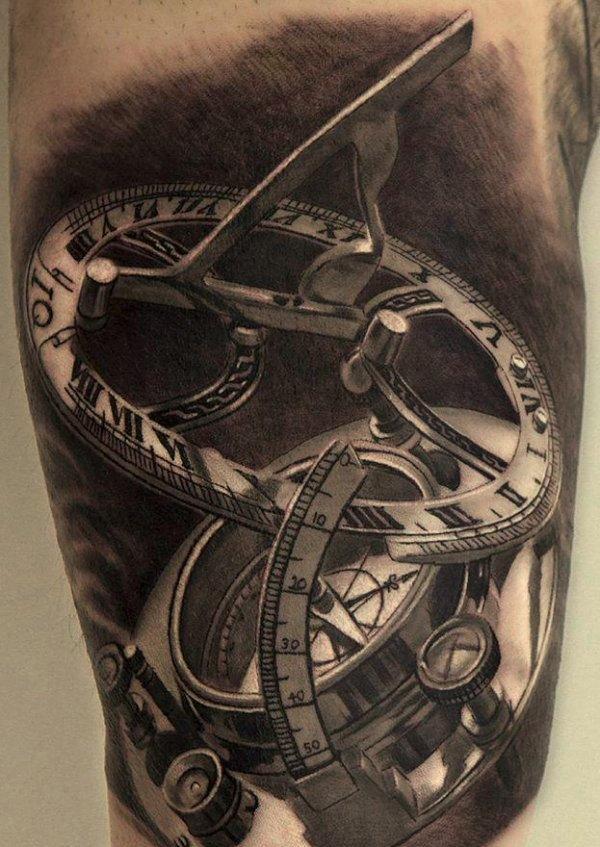zegar, wzory tatuaży