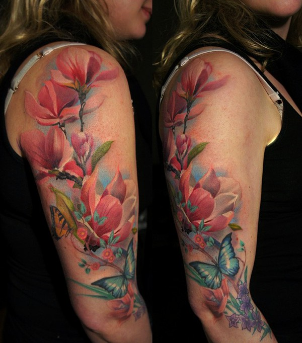 flowers, tattoos