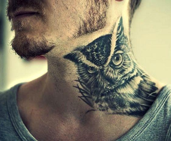 Sowa Tatuaż Na Szyi