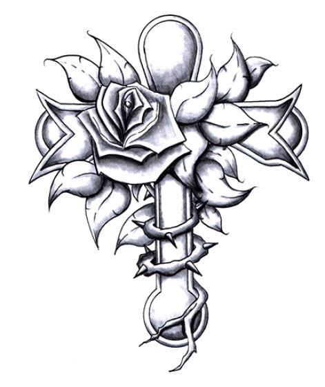 Krzyż I Róże Wzory Tatuaży