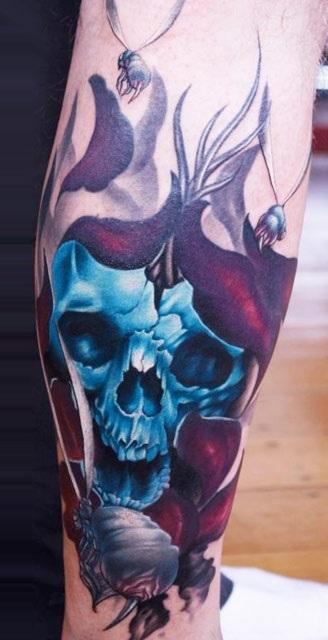 blue skull tattoo design