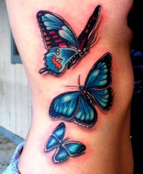 amazing blue butterfly tattoo on rib side
