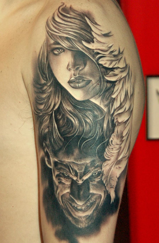 Angel demon tattoos for Angel and demon tattoo
