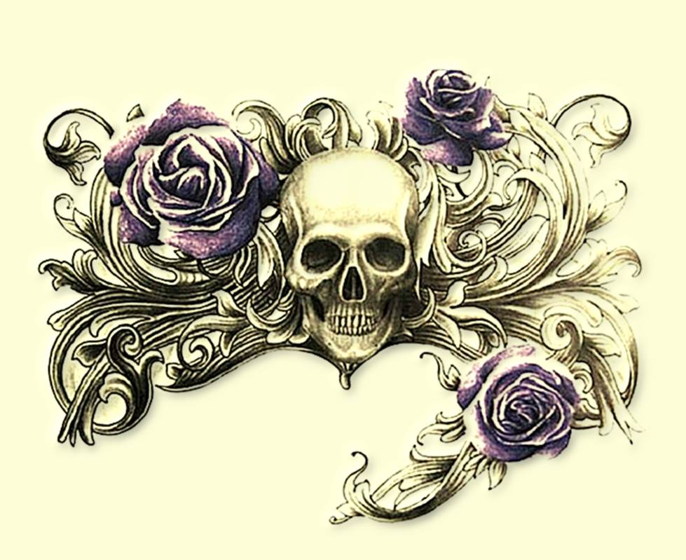 roses skull tattoo design