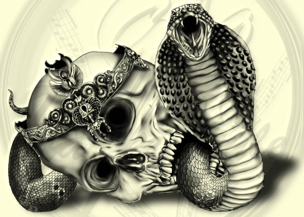 snake skull tattoo design
