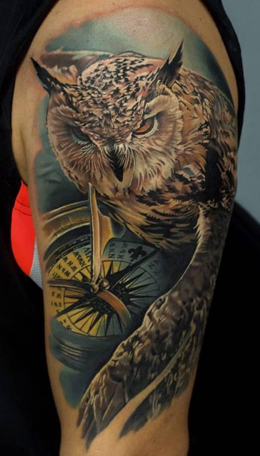 Tatuaże Sowy Z Kompasem