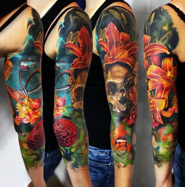 Czaszka I Kolorowe Kwiaty Tatuaże Na R