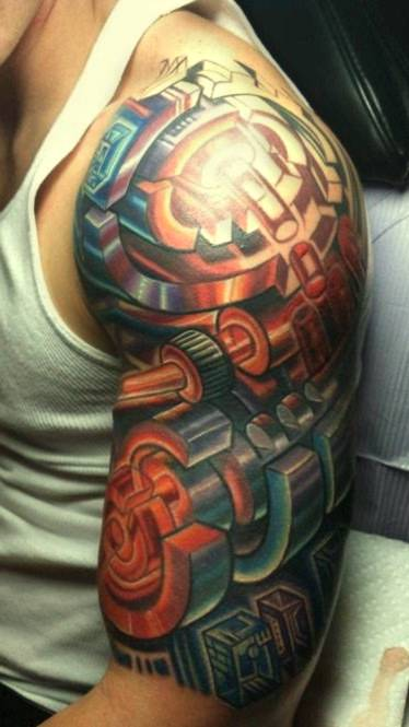 3d tattoo on half sleeve