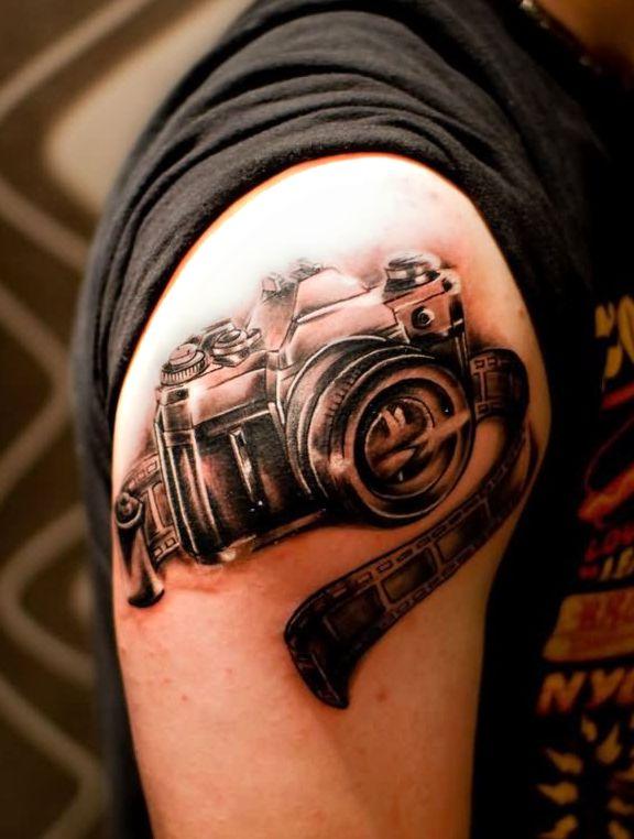 Aparat Fotograficzny Tatuaż Na Ramieniu