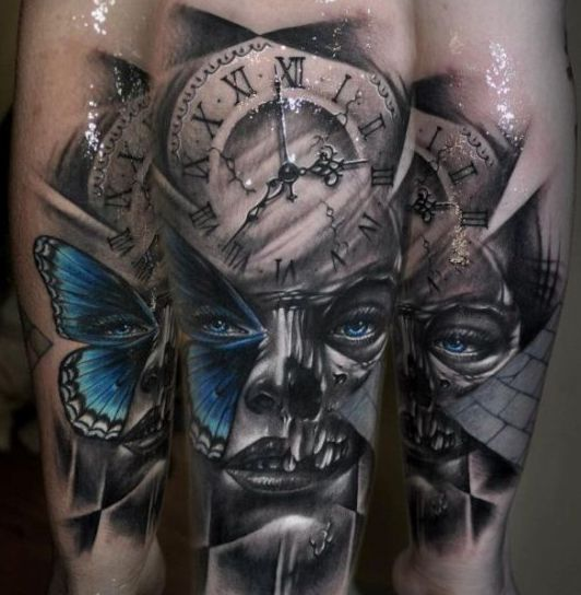 motyl zegar twarz