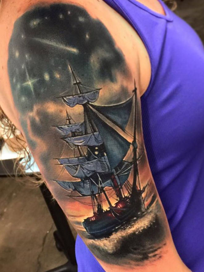 statek na fali
