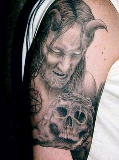 devill and skull tattoo