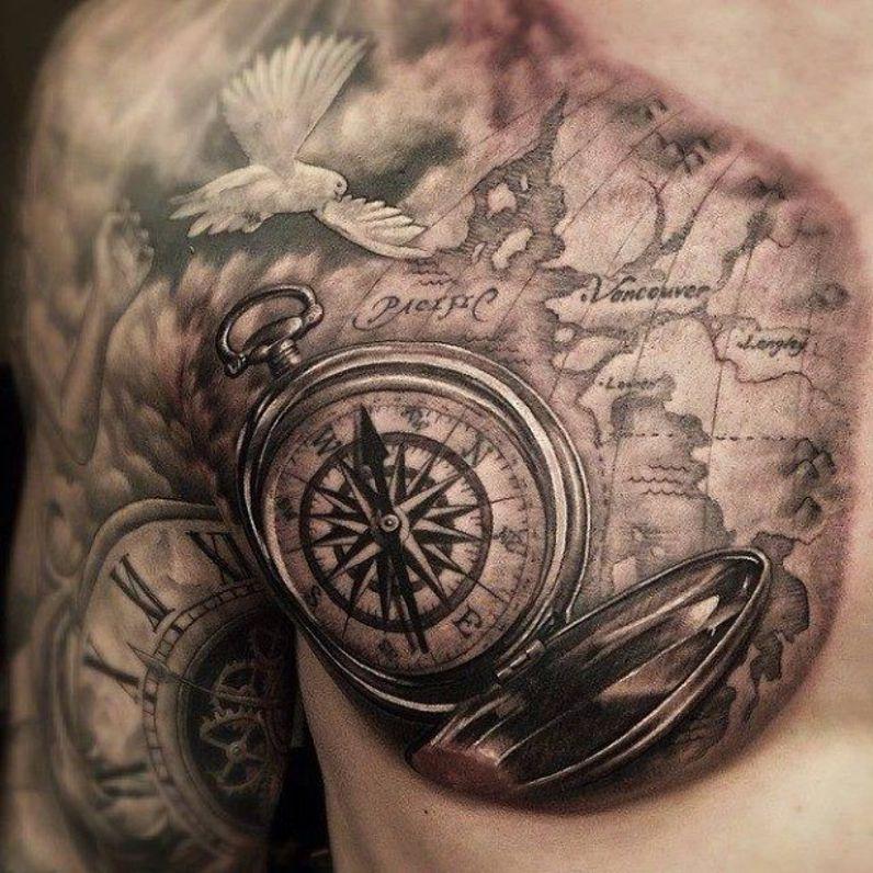 Mapa I Kompas Tatuaże Na Klatce Piersio