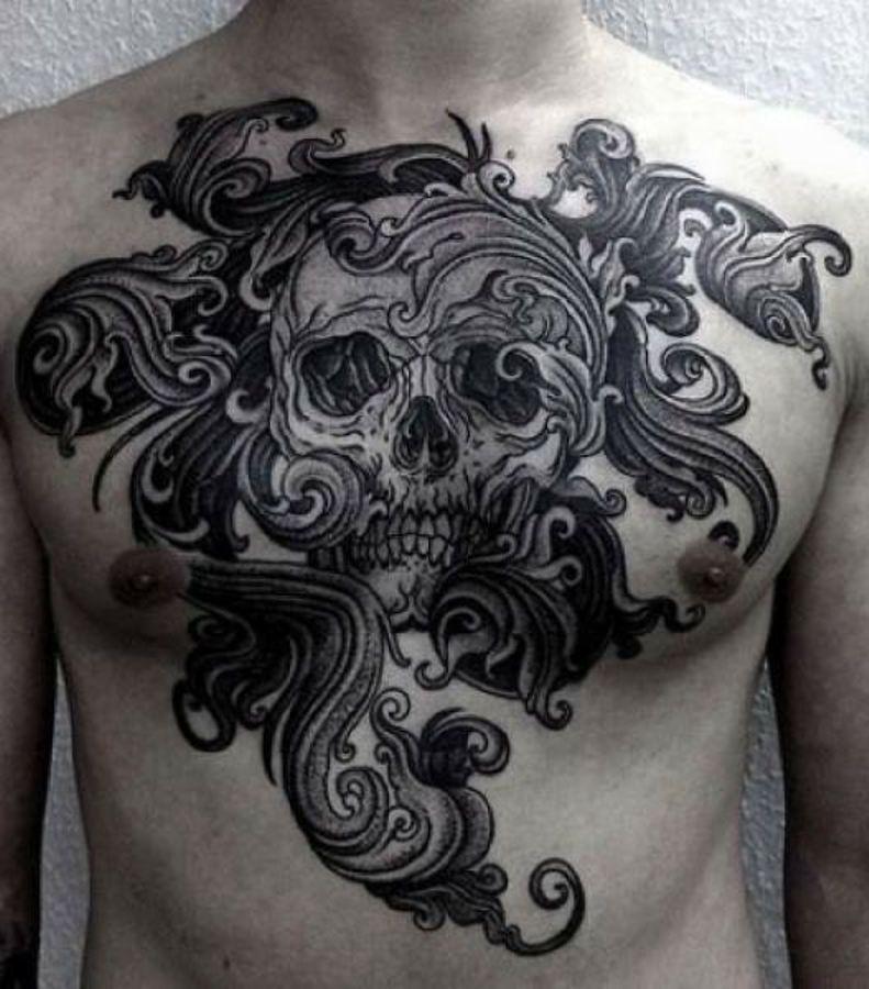 czarnobiałe tatuaże czaszki