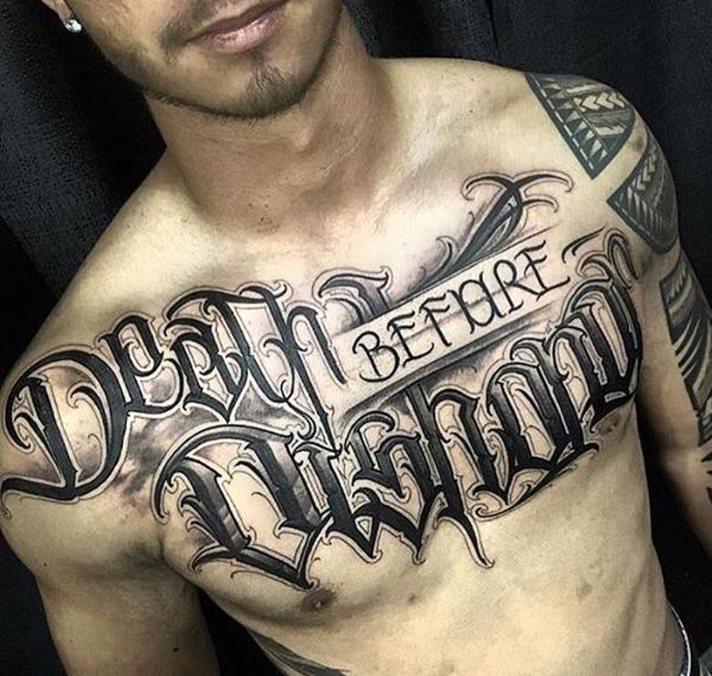 Death on chest tattoos