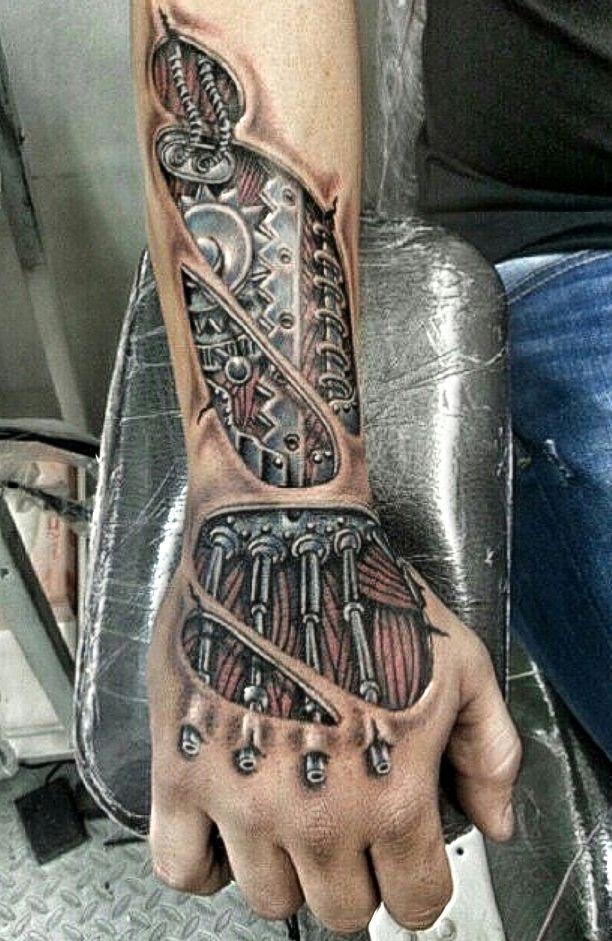 biomechanical wirst tattoo