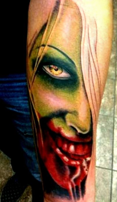 green face zombie tattoo
