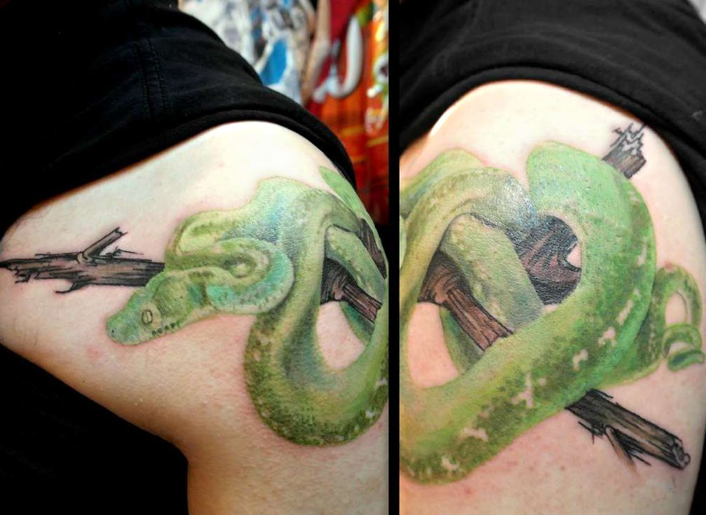 green snake tattoo