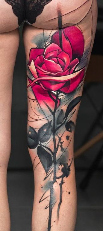 large red rose tattoo