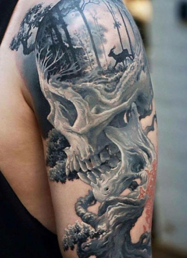 illusion skull tree 3d tattoo
