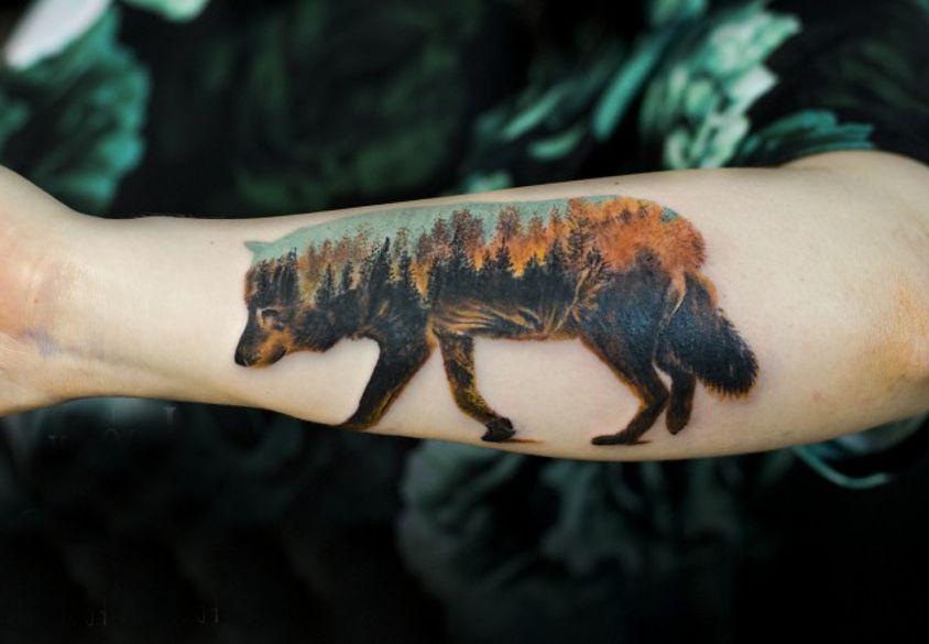 Wilk Tatuaż Las