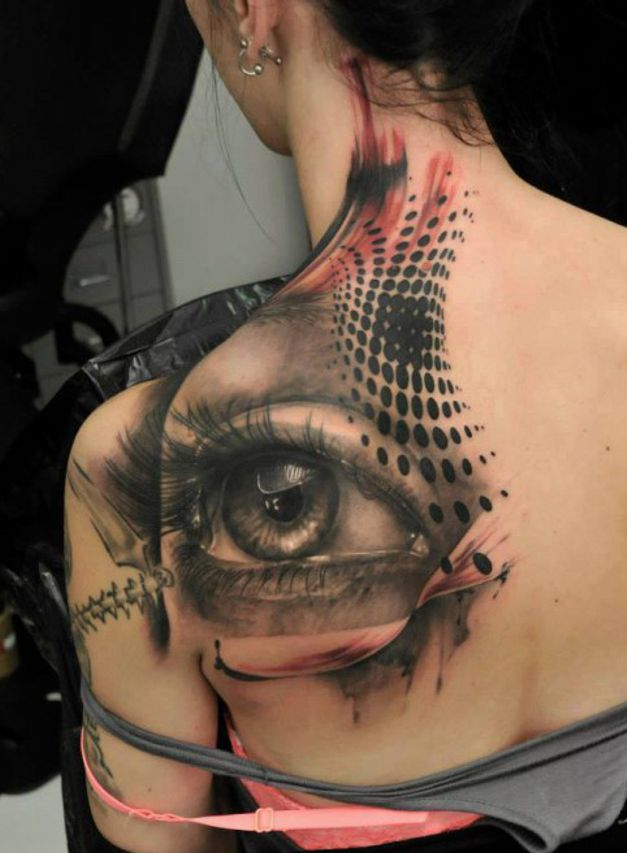 eye tattoo on back for girl
