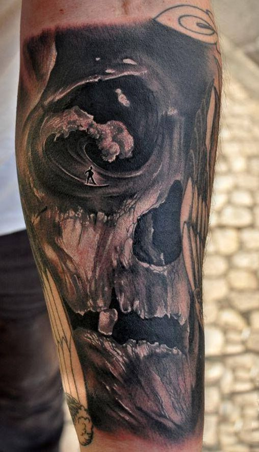 skull surf tattoo
