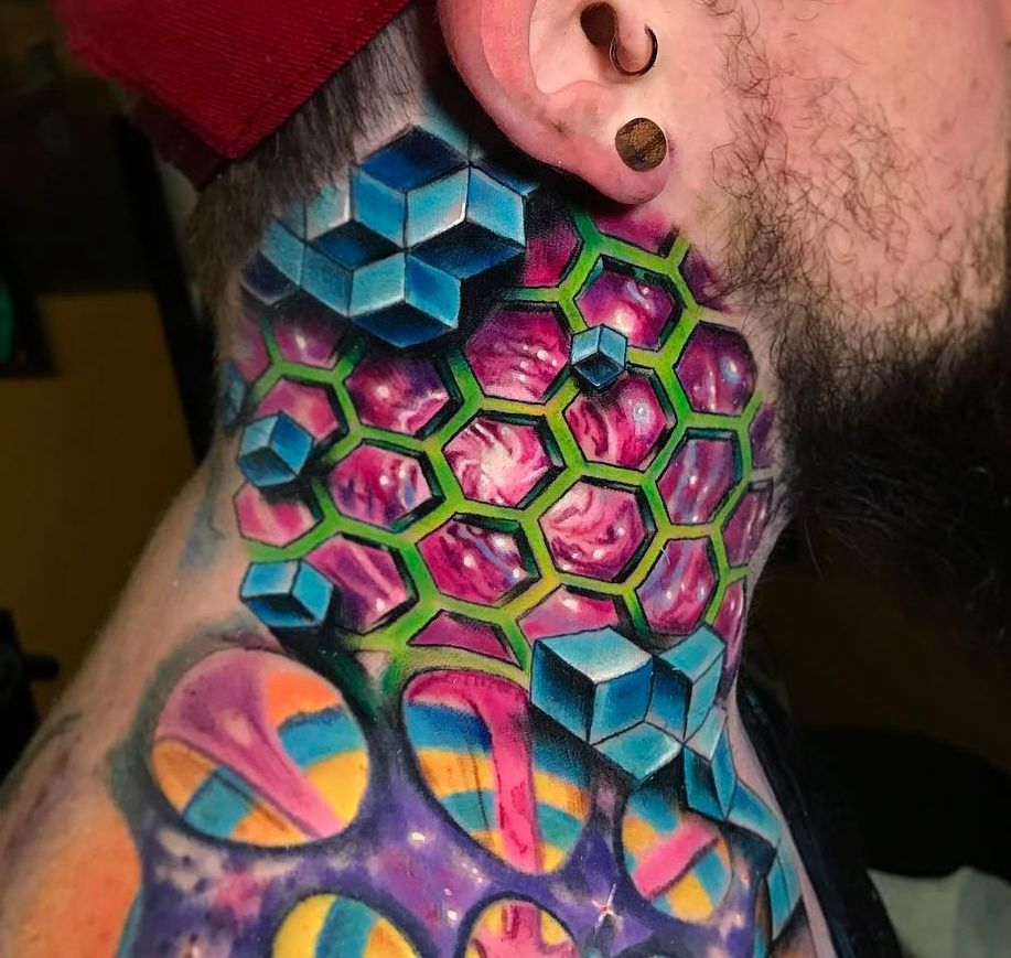 3d neck tattoo