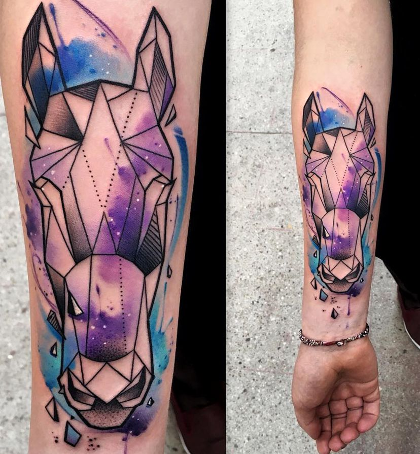horse geometric tattoo
