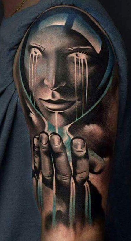 Klepsydra Twarz Dłoń Tatuaż 3d