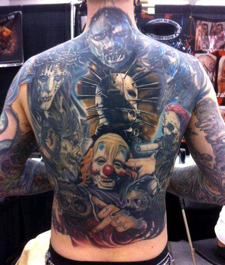 clown horror tattoo on back