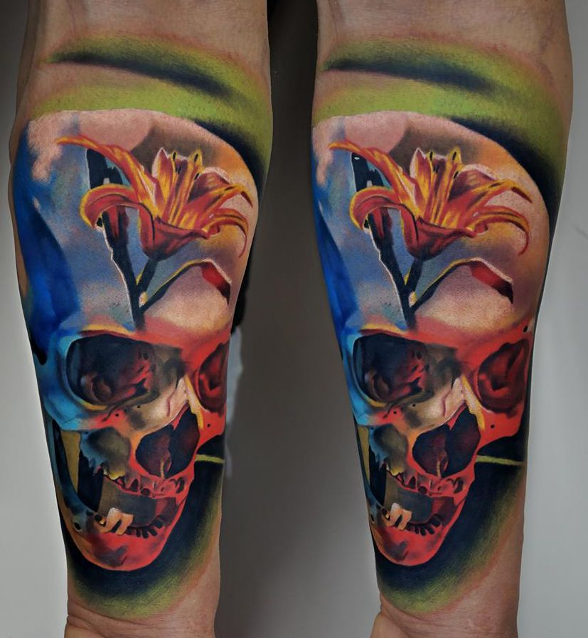 skull flower tattoo 3d