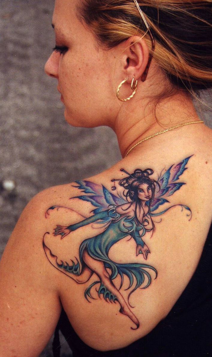 fairy tattoo on back for girl