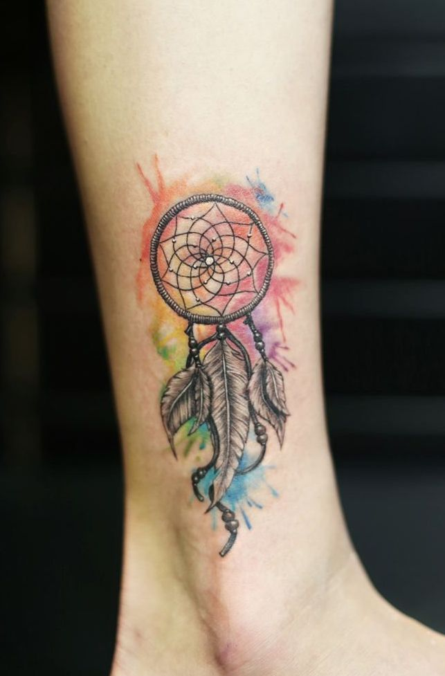 dreamcatcher ankle tattoo