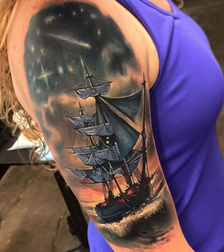 Tattoo ship on the shoulder