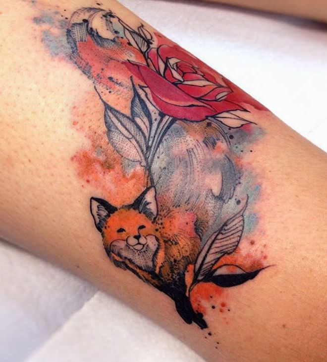 Colorful Fox Tattoo