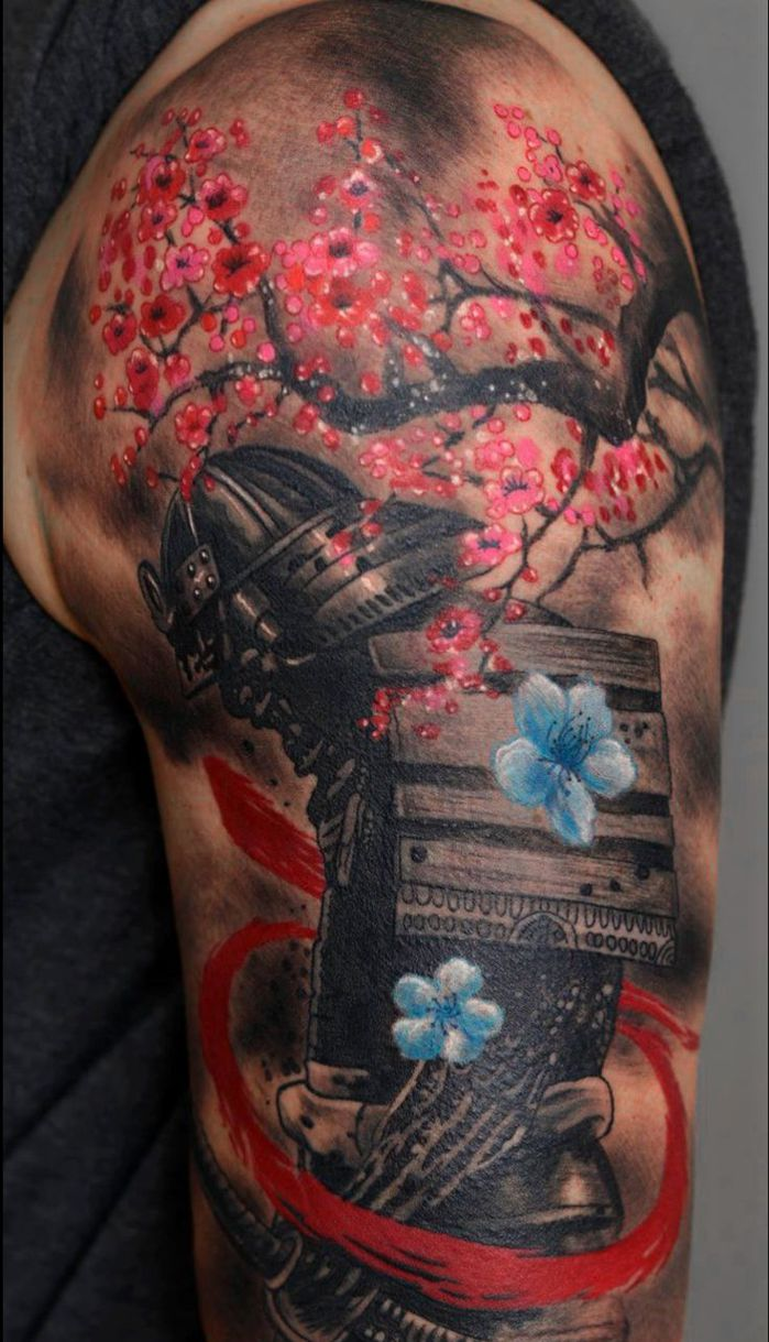 japanese tattoo sleeve samurai