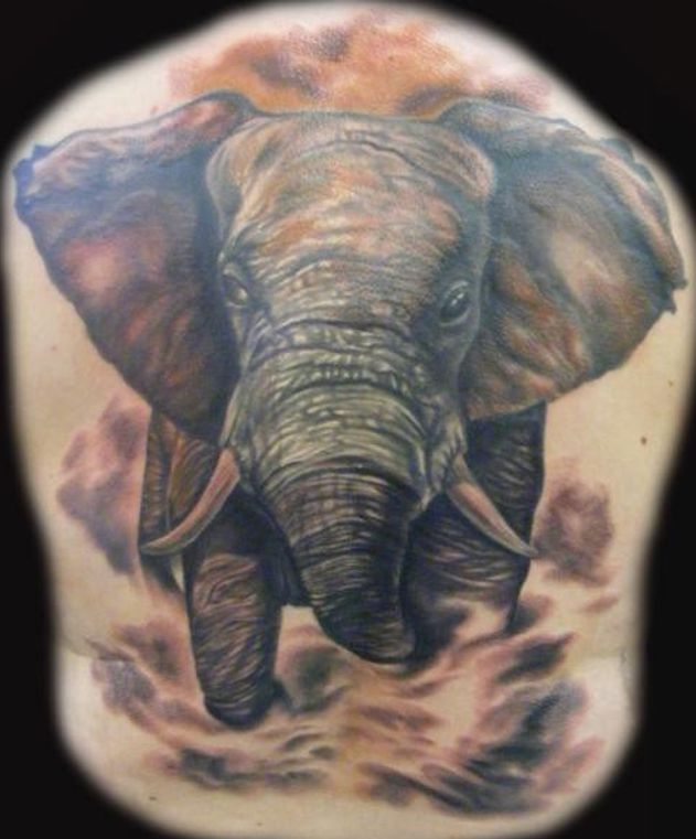 big realistic elephant tattoo
