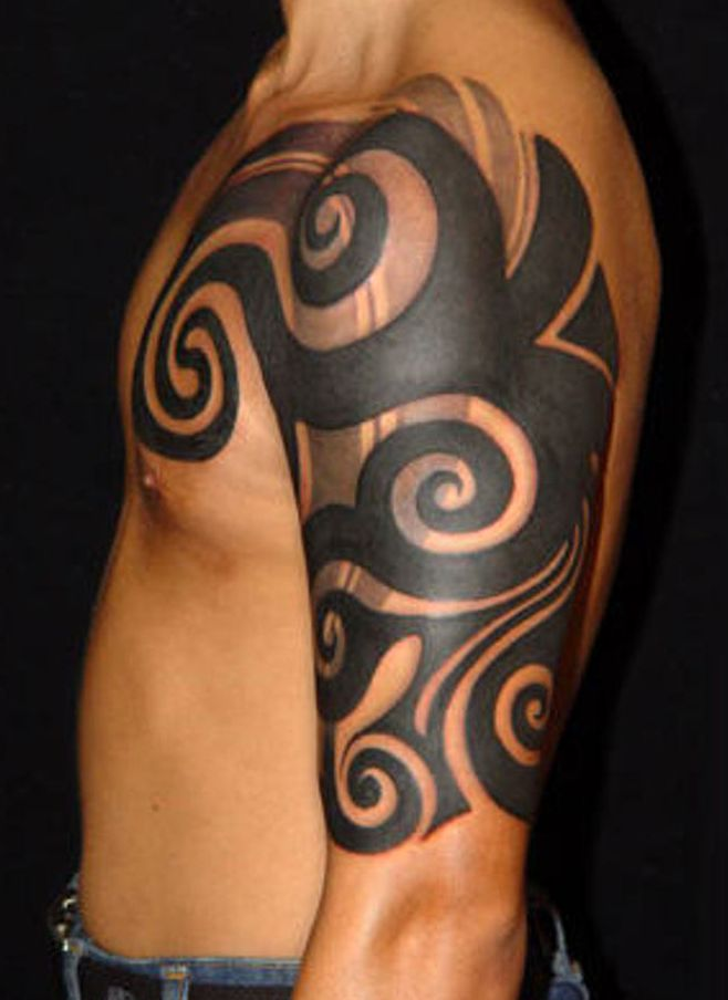 tribal arm tattoo for men