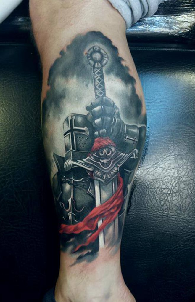 knight tattoo on leg