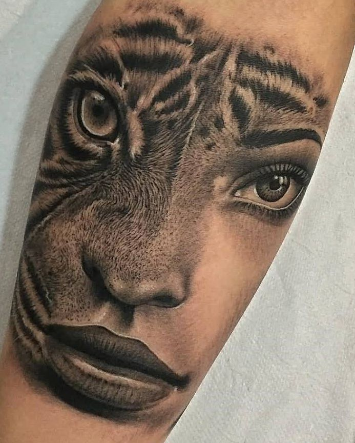 Girl And Tiger Face Tattoo