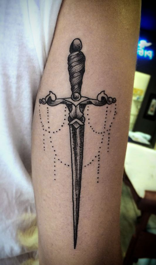 dagger tattoo for girl