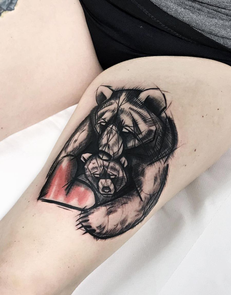 bear tattoo love