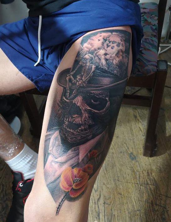 Czaszka Tatuaż Na Udo