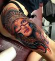 indian girl tattoo on leg