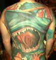 shark big tattoo on back